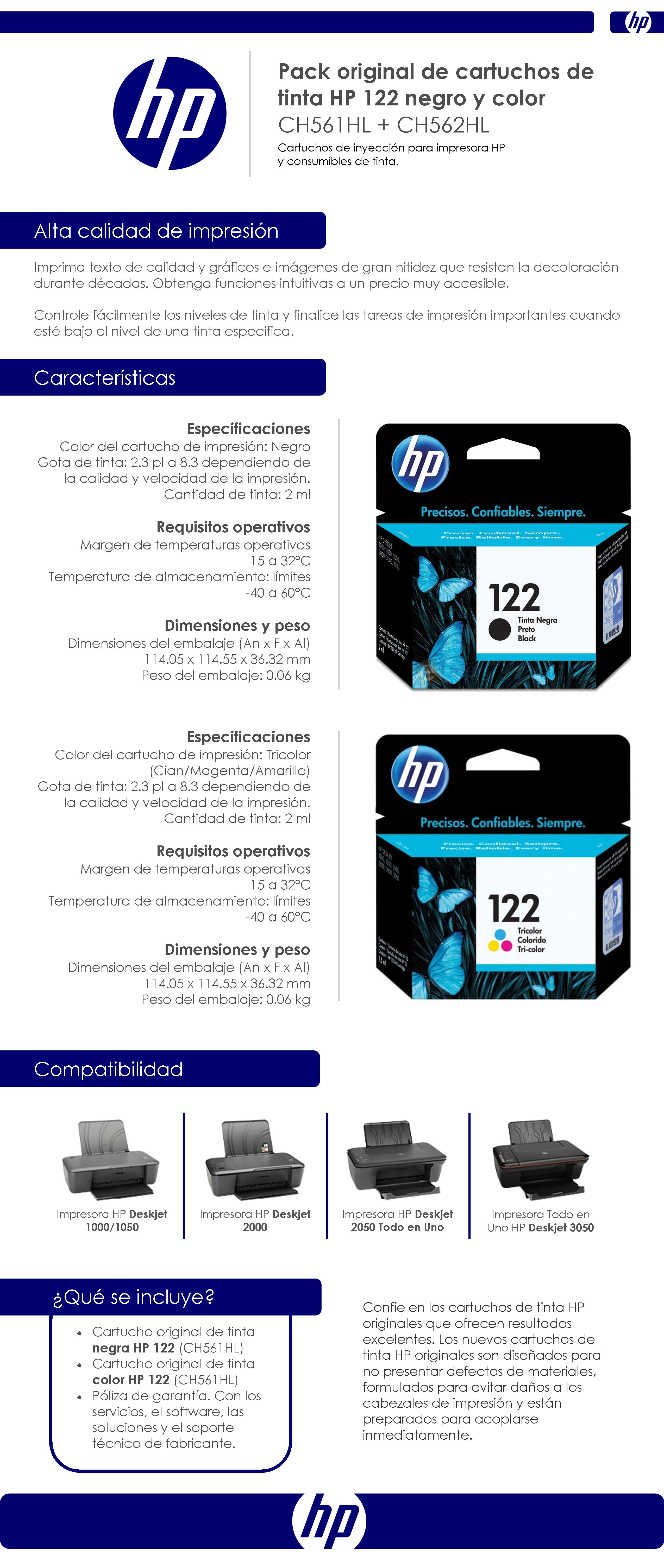 Pack Original De Cartuchos De Tinta HP 122 Negro y Color